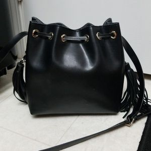 Black ZARA Bucket Bag drawstring faux leather